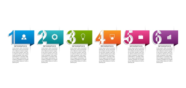Infographics template with numbers option for business presentations Premium Vector