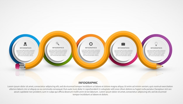 Infographics template with pencil. Premium Vector