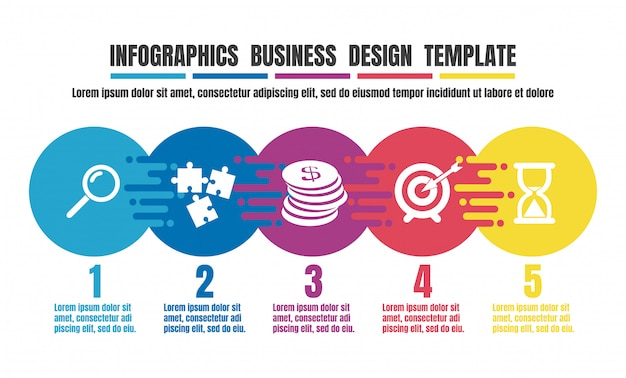 Infographics timeline colorful design template for business Premium Vector