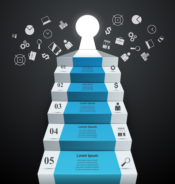 Infographics up the ladder to success. Business stair. Premium Vector