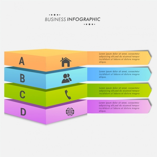 Infographics with 3d banners Premium Vector