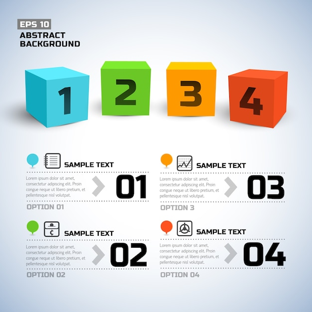 Infographics with 3d colorful cubes and numbers Free Vector