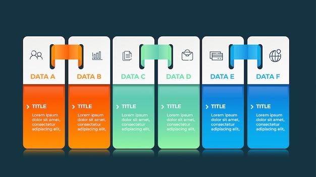 Infographics with 6 options data Premium Vector