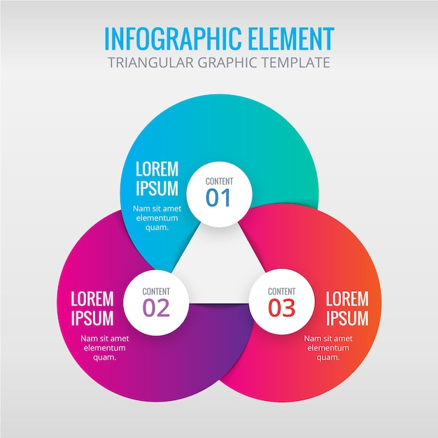Infographics with circles and triangles Free Vector