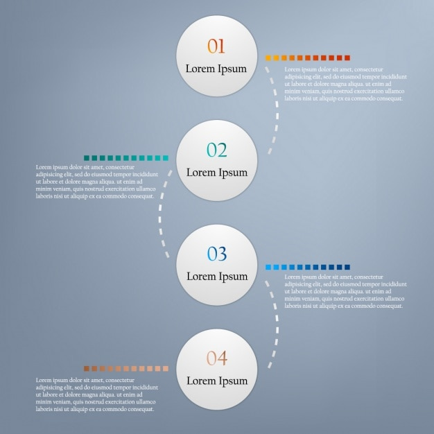 Infographics with circular options on a gray background Free Vector