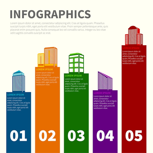 Infographics with colorful buildings