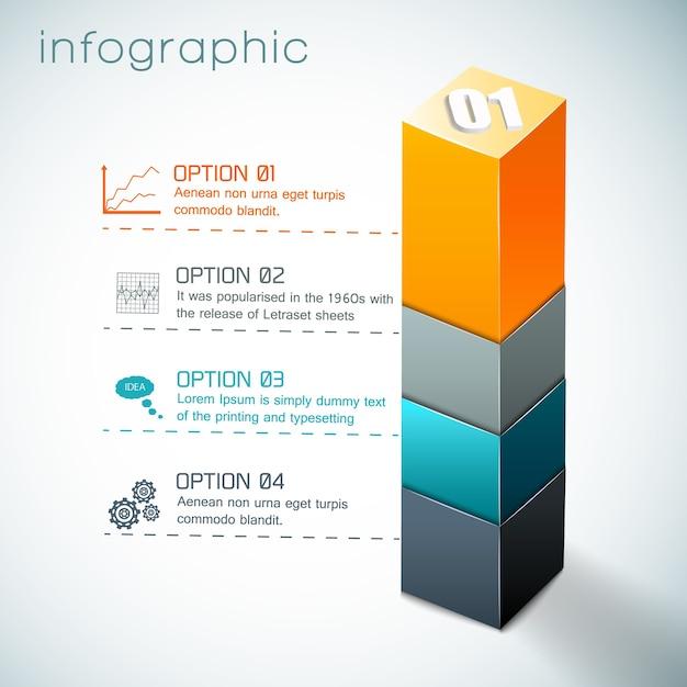 Infografica con colonna colorata da forme geometriche e set di icone su sfondo bianco Vettore gratuito