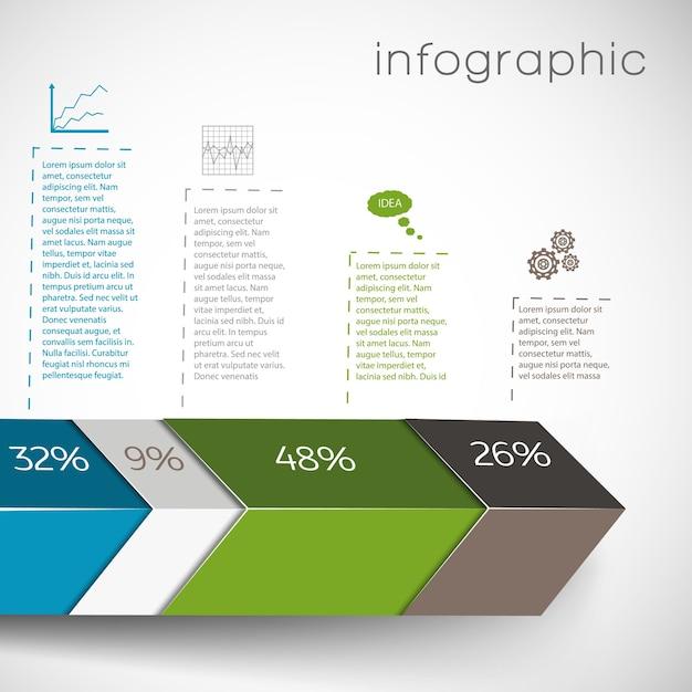기하학적 모양과 퍼센트 차트의 데이터와 흰색 배경에 설정 인포 그래픽 무료 벡터