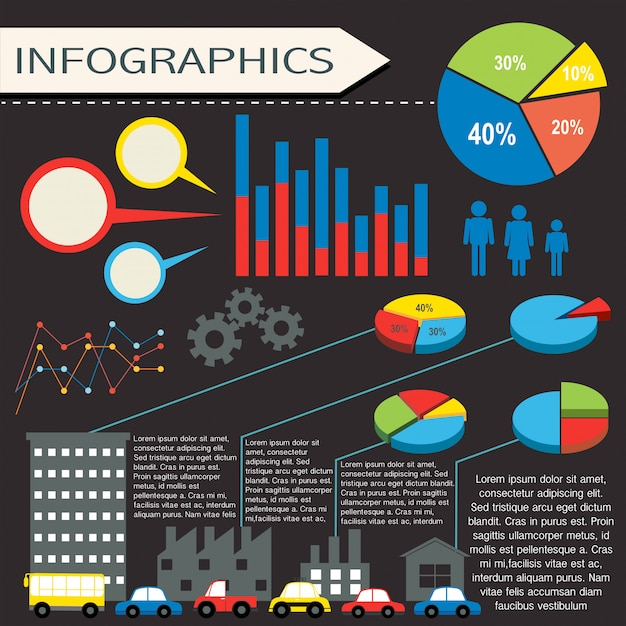 An infographics with humans and vehicles Free Vector
