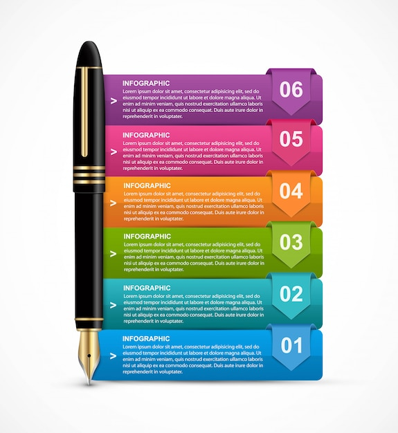 Infographics with ink pen for presentations. Premium Vector
