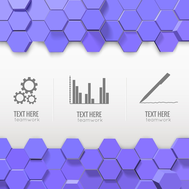 Infographics with monochrome business icons and blue hexagons Free Vector