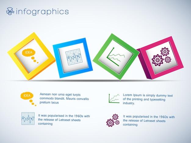 Infographics con fila di cubi 3d e icone di grafici e impostazione su sfondo bianco illustrazione vettoriale Vettore gratuito
