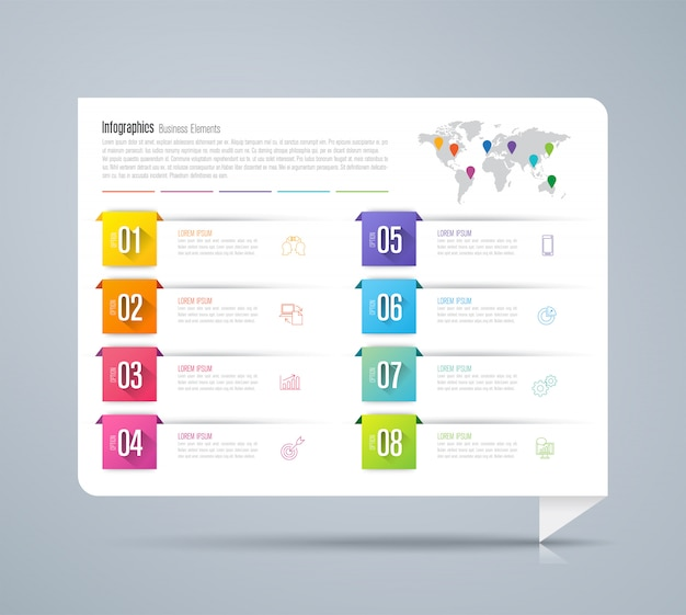 Infographics with steps and options Premium Vector