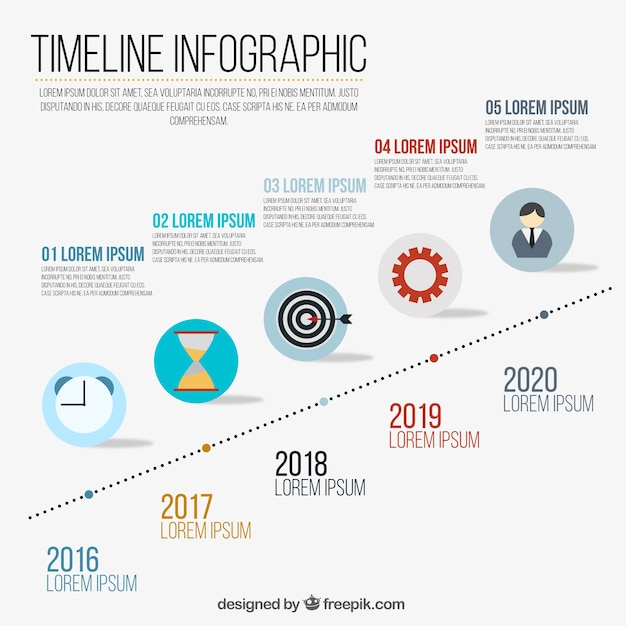 Infographics with a timeline Free Vector