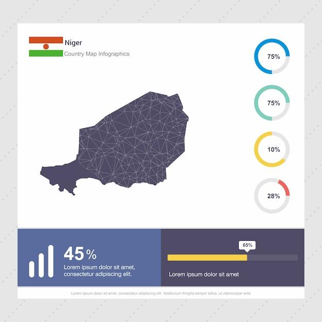 ニジェールの地図とフラグinfographicsのテンプレート 無料ベクター