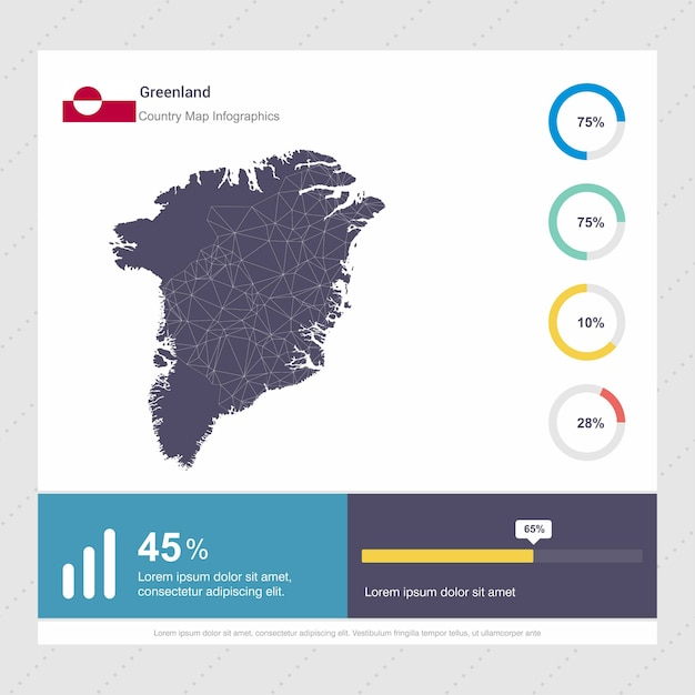 グリーンランドの地図とフラグinfographicsのテンプレート Premiumベクター