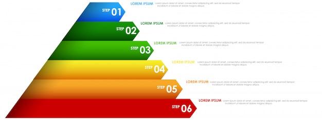 カラフルな虹のinfographicsピラミッド 無料ベクター