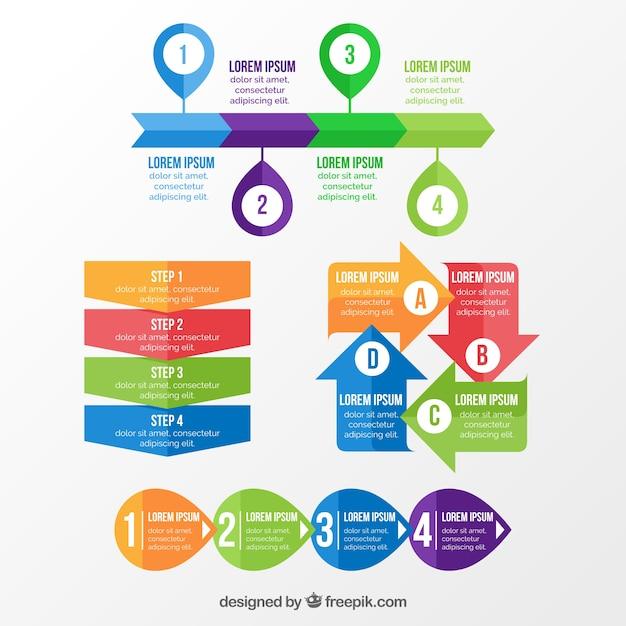 Infographicsのための様々な色のアイテム 無料ベクター