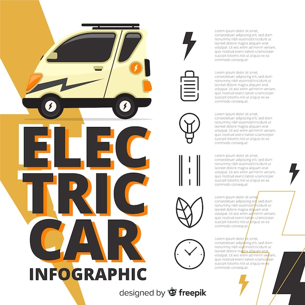 電気自動車のinfographics 無料ベクター