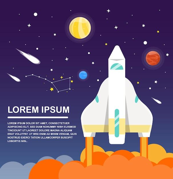 スペースシャトルとソーラーシステムinfographicsフラットデザイン。ベクトル図 Premiumベクター