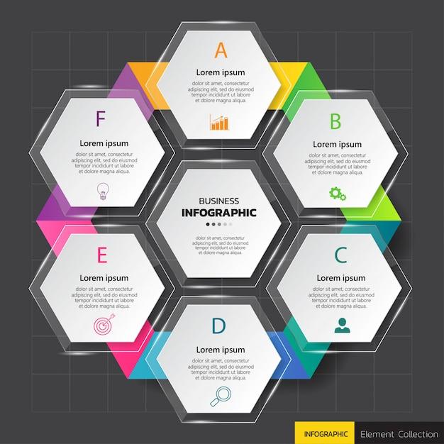 六角形のinfographicsダイアグラムテンプレート。 Premiumベクター