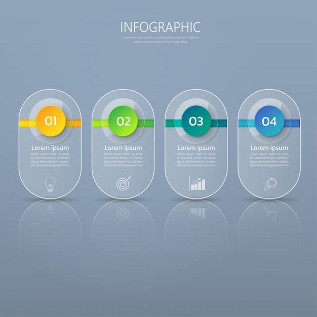 Infographicsガラスや光沢のあるスタイルのバナーテンプレート。 Premiumベクター