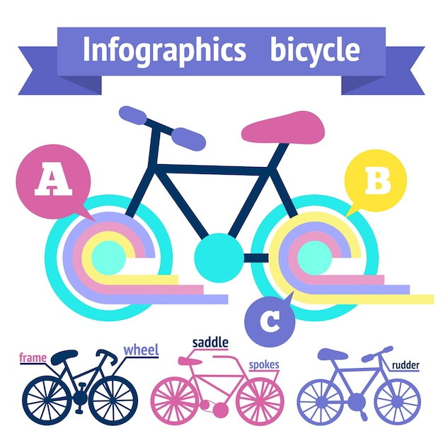 Bicycle Sport Fitness Infographic Elements With Bike Parts Vector