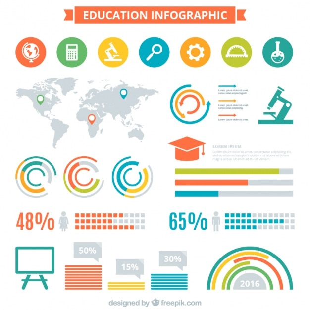 Infography about education with different elements Free Vector