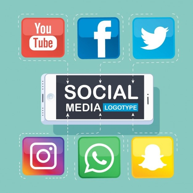 Infography about social networks with a mobile phone Free Vector