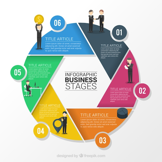 Infography business stages Free Vector