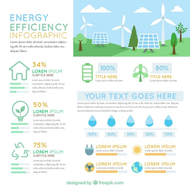 Infography With Elements Of Energy Efficiency Vector