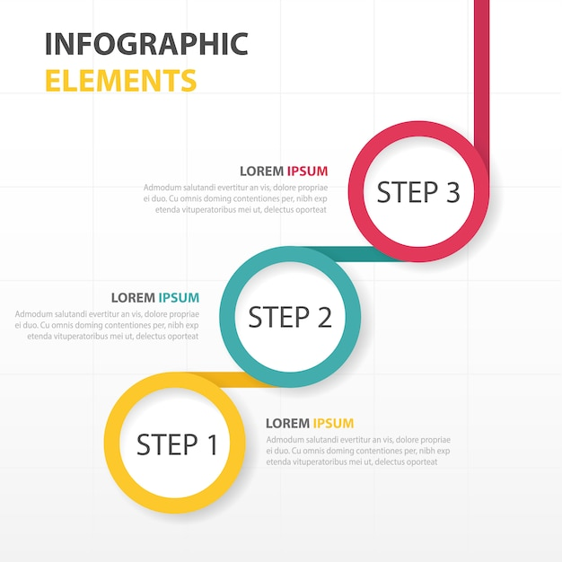 Infography With Three Circular Steps Vector