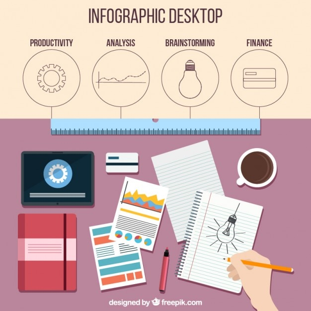 Infography of workplace in flat design Free Vector