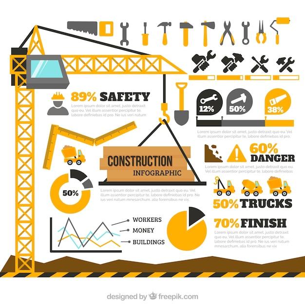 建設要素infography 無料ベクター