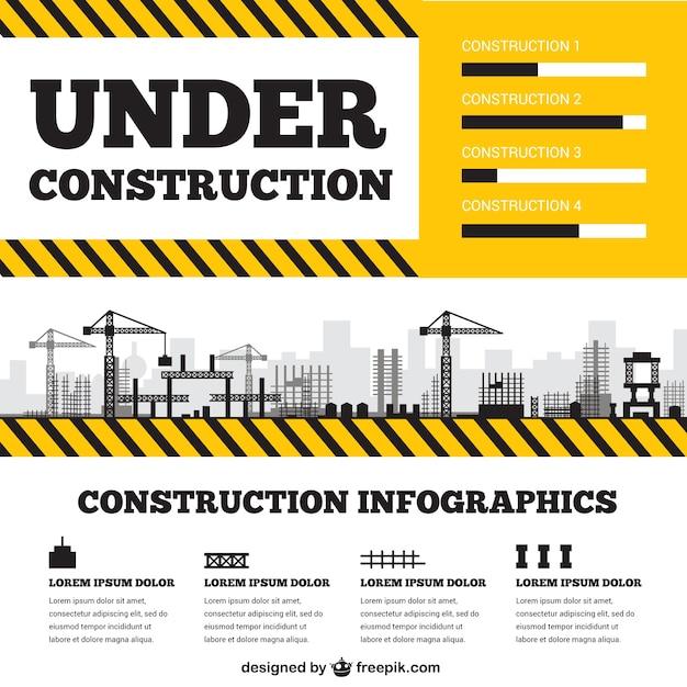 建設infographyの下で 無料ベクター