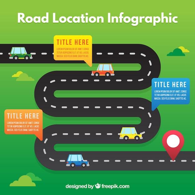 Плоский infography дорожного расположения с автомобилями Бесплатные векторы