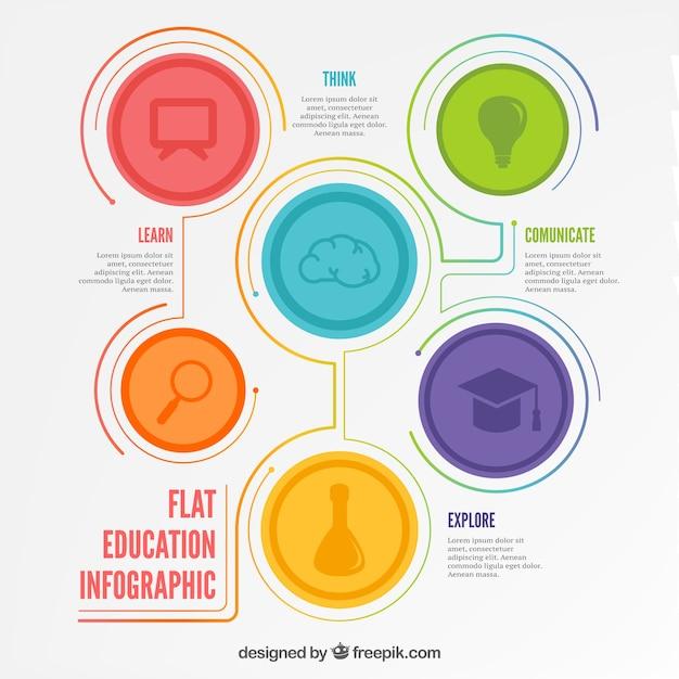 フラットデザインの教育infography 無料ベクター