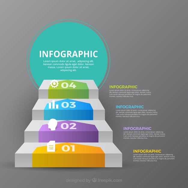 Inforgraphic steps collection with many colors Free Vector
