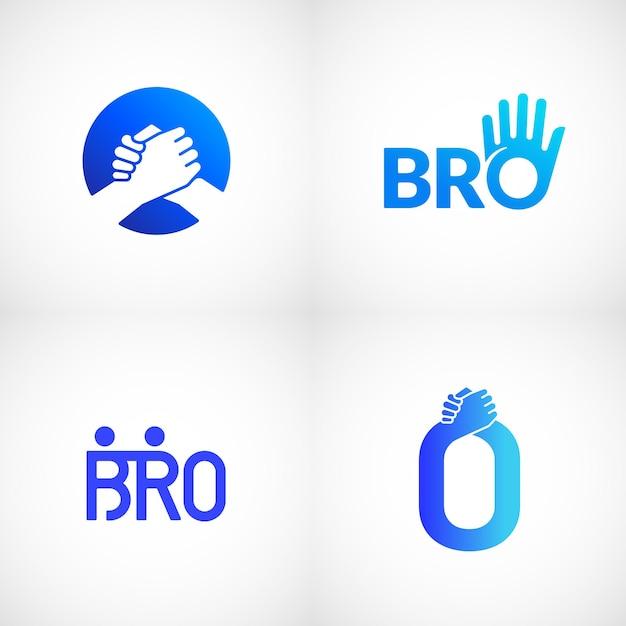 Неформальный приветствие рукопожатие абстрактный знак Premium векторы