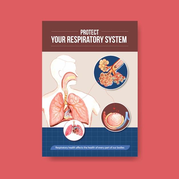 呼吸器系の解剖学および基本的なシステムの理解に関する情報 無料ベクター