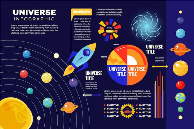 宇宙船と惑星宇宙のインフォグラフィックに関する情報 無料ベクター