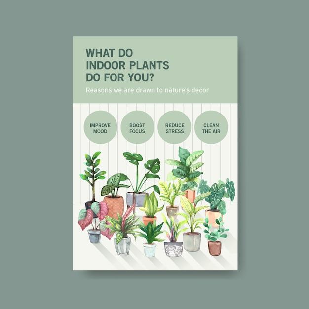 Информация о шаблоне дизайна летних растений и комнатных растений для рекламы, листовки, буклета, акварельной иллюстрации Бесплатные векторы