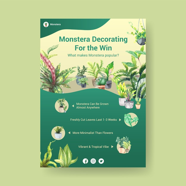 Information about summer plant and house plants template design for advertise, leaflet, booklet watercolor illustration Free Vector