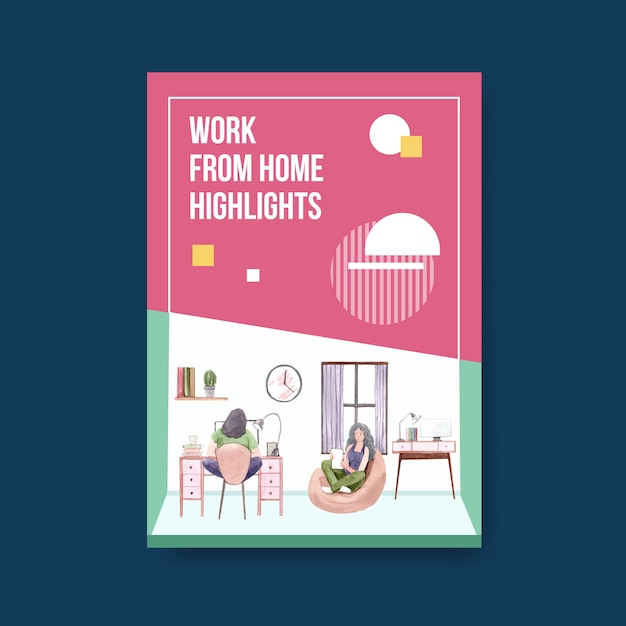 Information advice template when people are working from home. home office concept watercolor vector illustration Free Vector