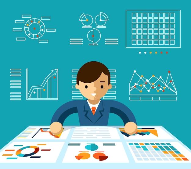 Информационный анализ. мониторинг экономики, менеджера и прогресса и продуктивности, векторные иллюстрации Бесплатные векторы