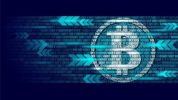Information bitcoin flow blue glowing finance Premium Vector