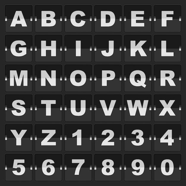 Information board mechanic alphabet and digits Premium Vector