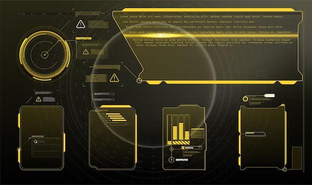 Панели информационных блоков и современные шаблоны макетов цифровых информационных фреймов. подходит для игры uiux. Premium векторы