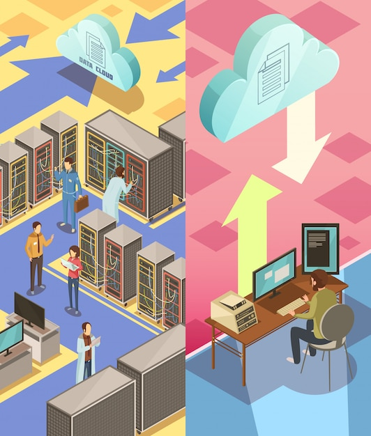 Information center isometric vertical banners with staff hosting server cloud services and transfer Free Vector