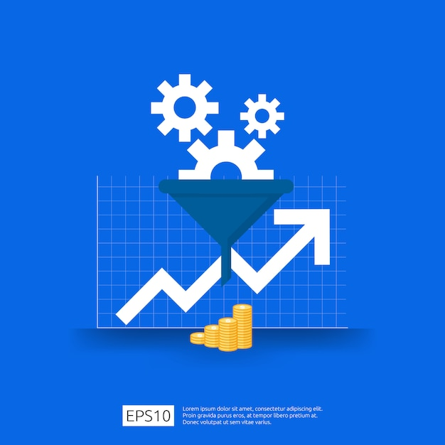 Information data collection of filter concept with funnel, money, and graph object element. digital marketing analysis for business strategy concept. flat design Premium Vector